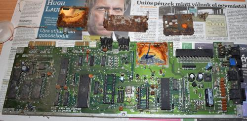 Commodore 64 motherboard after removed the metal parts